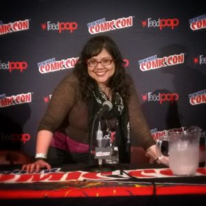 Voices Against Bullying #2 contributor Elizabeth Fernandez at the 2014 New York ComicCon, promoting her latest work on The Alan Turing Project.